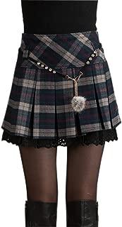 chouyatou Women's A-Line Plaid Wool Blend Pleated Skirt Side Zipper