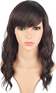 Fashion Brown Wavy Hair Wigs For African American Women With Side Bangs Synthetic Heat Resistant Hair Wigs Free Wig Cap Net 16 Inches(LIGHT BROWN(4#))