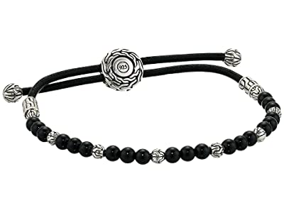 John Hardy Classic Chain Round Beads Pull Through Bracelet on Black Cord w/ Black Onyx (Silver) Bracelet