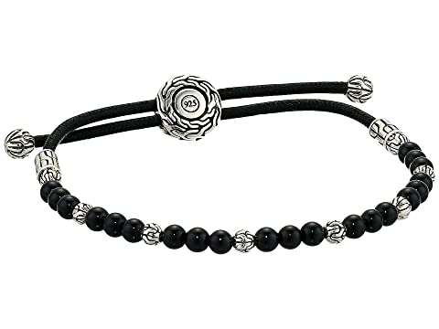 John Hardy Classic Chain Round Beads Pull Through Bracelet on Black Cord w/ Black Onyx