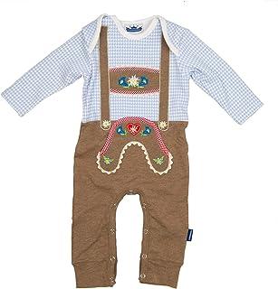 Eisenherz Baby Strampler hellblau kariert Langarm mit Druckverschluss im Schritt Lederhose mit Hosenträgerapplikation in verschiedenen Größen - süßer Trachtenlook