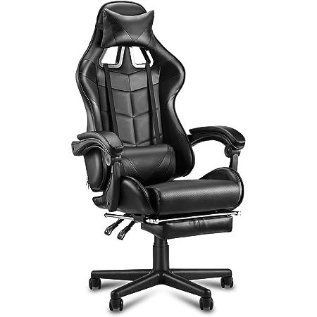 Sedia Gaming Poltrona da Gioco Ergonomica Girevole con poggiapiedi a Scomparsa Sedia da Ufficio poggiatesta e Cuscino massaggiante Lombare Grigio