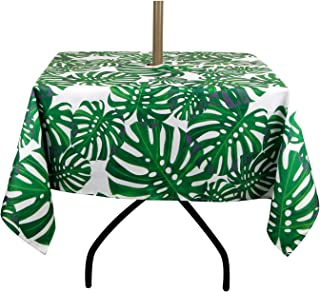 ColorBird Spring & Summer Palm Leaf Outdoor Tablecloth Waterproof Spillproof Polyester Table Cover with Zipper Umbrella Hole for Patio Garden Tabletop Decor, 60