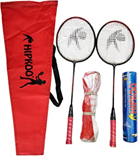 Hipkoo Sports HXBRSET_RDXSCOCKXNET Aluminum Full Badminton Kit (2 Racket, Pack of 10 Shuttlecocks and Net) Badminton Kit (...