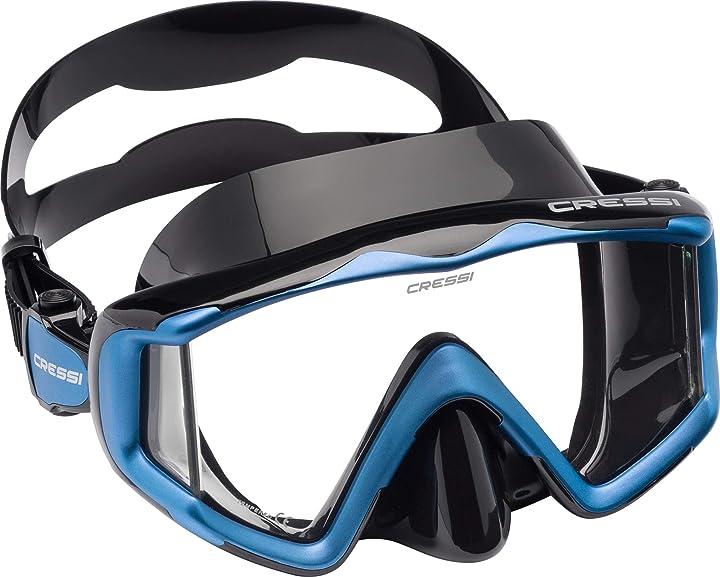 Maschera per immersioni, apnea e snorkeling,disponibile in versione due/tre vetri unisex adulto cressi liberty DS455020