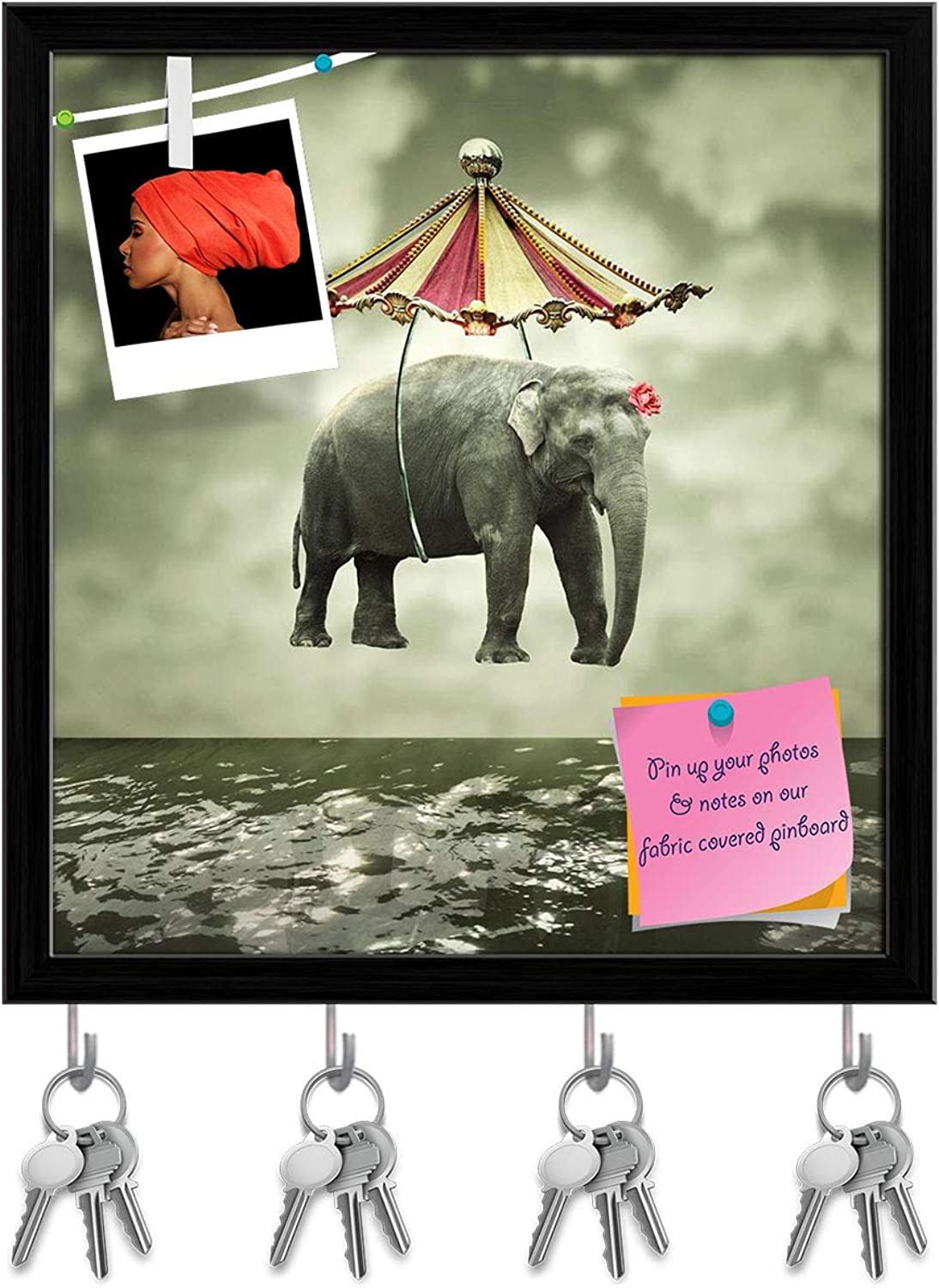 Artzfolio Flying Elephant with Circus Tent Above The Water Key Holder Hooks   Notice Pin Board   Black Frame 16 X 17.3Inch