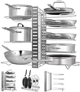 Pot Rack Organizers, G-TING 8 Tiers Pots and Pans Organizer, Adjustable Pot Lid Holders & Pan Rack for Kitchen Counter and Cabinet, Lid Organizer for Pots and Pans With 3 DIY Methods