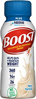 Boost Plus Complete Nutritional Drink, Very Vanilla, 8 fl oz Bottle, 24 Pack