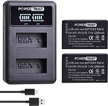 PowerTrust 2Pack EN-EL20 ENEL20 Battery and LED Dual USB Charger for Nikon EN-EL20 EN-EL20a Nikon J1 1 J2 1 J3 1 S1 1 V3 Nikon Coolpix A Nikon AW1 and Blackmagic Pocket Cinema Cameras