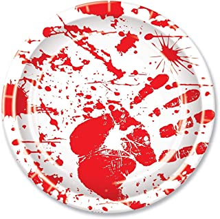 """Beistle Halloween Party Decoration Bloody Handprints Plates,Red/White 9""""- Pack of 8"""