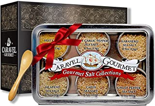The Spicy Hot Gourmet Sea Salt Sampler - Perfect as a Gift Set - Reusable Tins & Bamboo Spoon - Ghost Pepper, Habanero, Jalapeno, Garlic Pepper, Cajun, & Curry Salts - 1/2 oz. each, 3 total oz.
