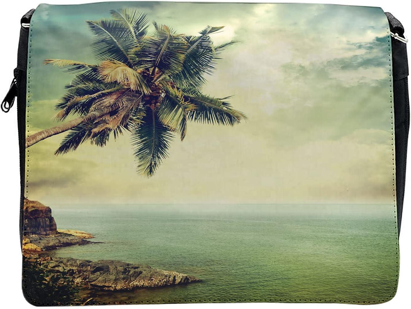 Ambesonne Caribbean Cross Body Messenger Bag, Palm Tree Rocky Shore, Unisex
