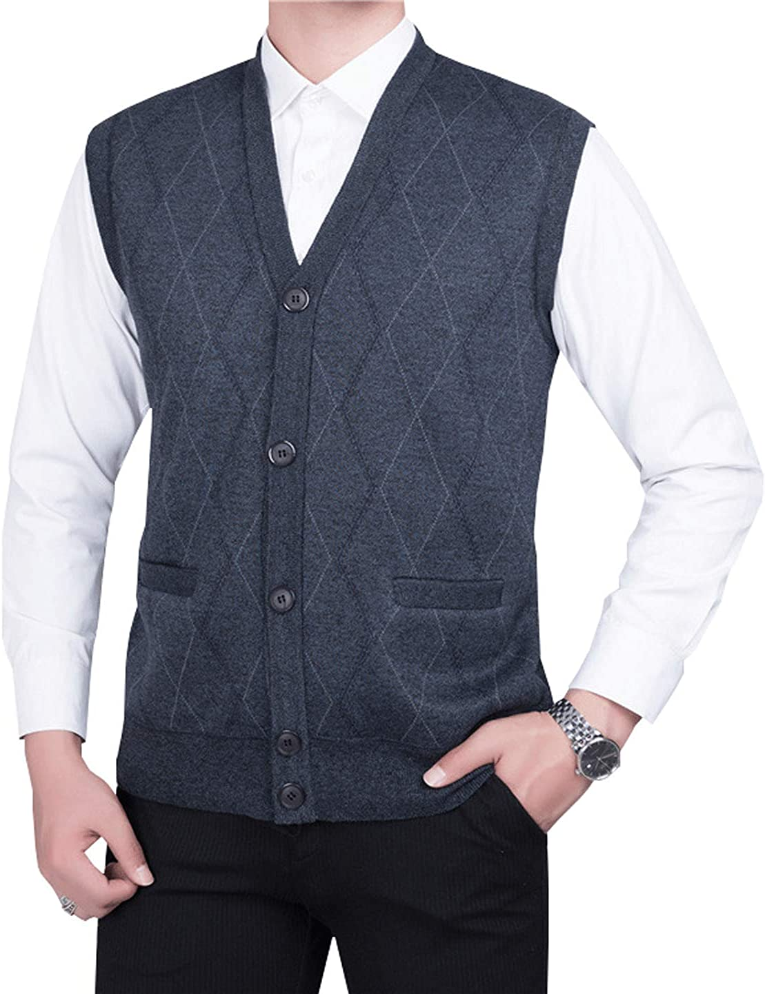Washington Mall Our shop OFFers the best service HOW'ON Men's V-Neck Cardigan Sweater with Front Vest Button