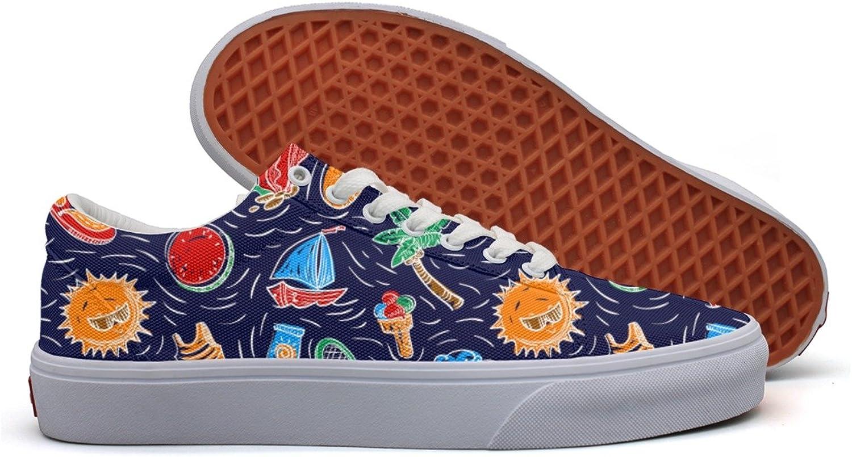 Charmarm Summer Coconut Tree Pineapple Sun Women Utility Low Top Canvas Walking shoes