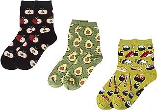 CAILI, 3 Pares Calcetines, Dibujos Animados Creativos, Frutas de Postre, Patrones de Algodón, Cómic, Aguacate, Sushi, Calcetines Deportivos, Calcetines de Pareja