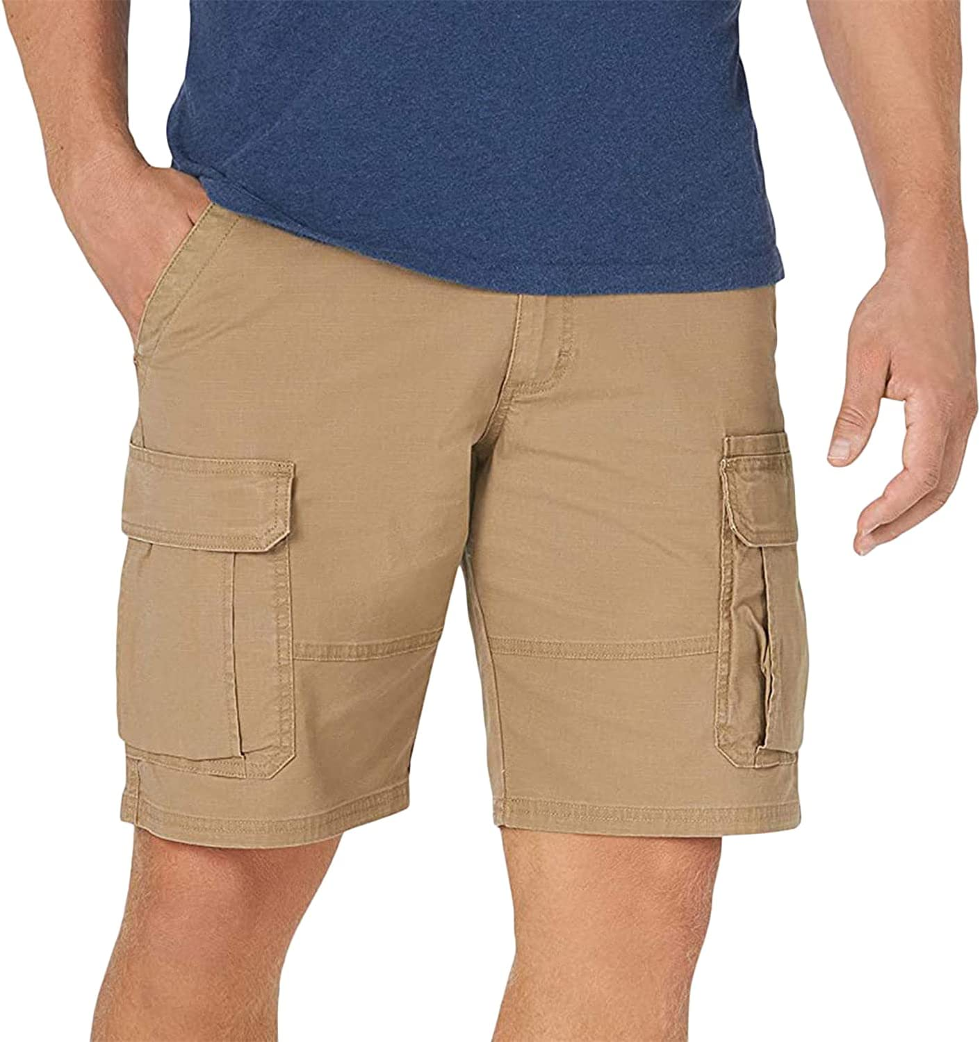 Men's Relaxed Fit Cargo Shorts Big and Tall Twill Multi Pocket Shorts Casual Outdoor Hiking Camo Short Pants (Brown 2,Large)