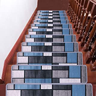 HQCHOOSE Stair Treads Carpet (8 Inches x 30 Inches) Pack of 13 Stair Mats with Safety Non-Slip/Anti Skid PVC Backside Extra Carpet Tape Provided