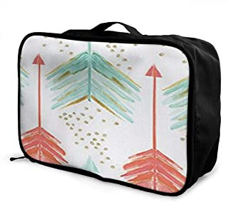 Coral and Teal Arrows Canvas Travel Weekender Bag,Fashion Custom Lightweight Large Capacity Portable Luggage Bag,Suitcase Trolley Bag