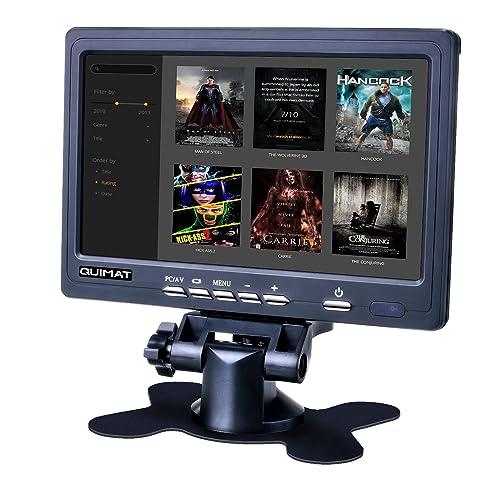 Monitor hd 7 pulgadas, Quimat Pantalla TFT-LCD 1024*600 2AV/VGA