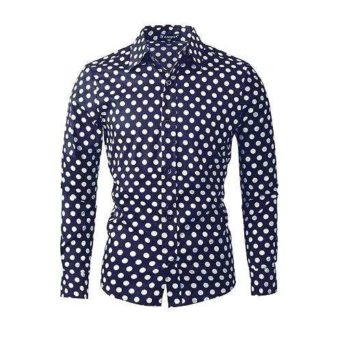 341e48612f6d uxcell Men 100% Cotton Polka Dots Long Sleeve Slim Fit Dress Shirt