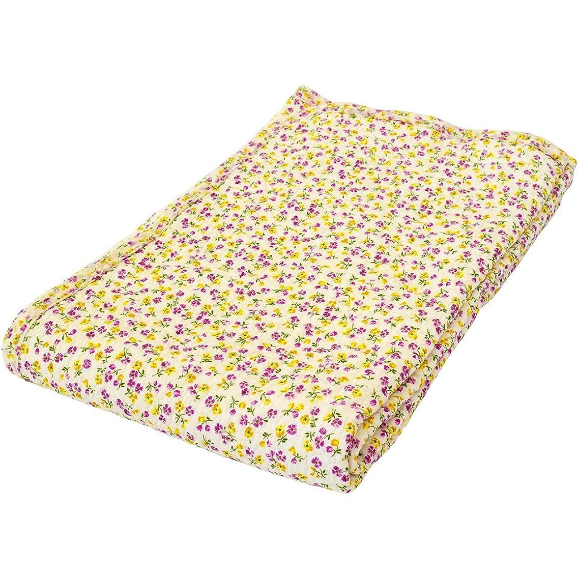 凝視無限大小屋東京西川 水洗いキルト 敷きパッド ダブル ピンク 綿100% 小花柄
