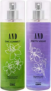 AND Chic Connect & Pretty Vogue Pack of 2 Body Mist 200ML each for Female Crafted by Ajmal + 2 Parfum Testers