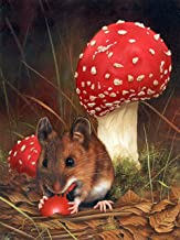 Diamond Painting 5D Press Digital Painting Kit DIY Oil Painting Art Crafts Suitable For Family Wall Decoration Christmas Valentine's Day Children's Day Gift Mouse Eating Mushroom 45x50cm