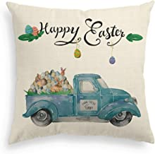 AVOIN Happy Easter Pillow Cover Truck Loads of Eggs Farmhouse Linen Decorative Throw Pillowcase, 18 x 18 Inch Spring Cute Cushion Protector for Sofa Couch Home Decor