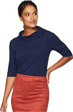 Classic Jersey Button Neck Elbow Sleeve Tee with Pleated Back