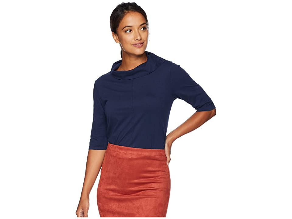 Mod-o-doc Classic Jersey Button Neck Elbow Sleeve Tee with Pleated Back (True Navy) Women