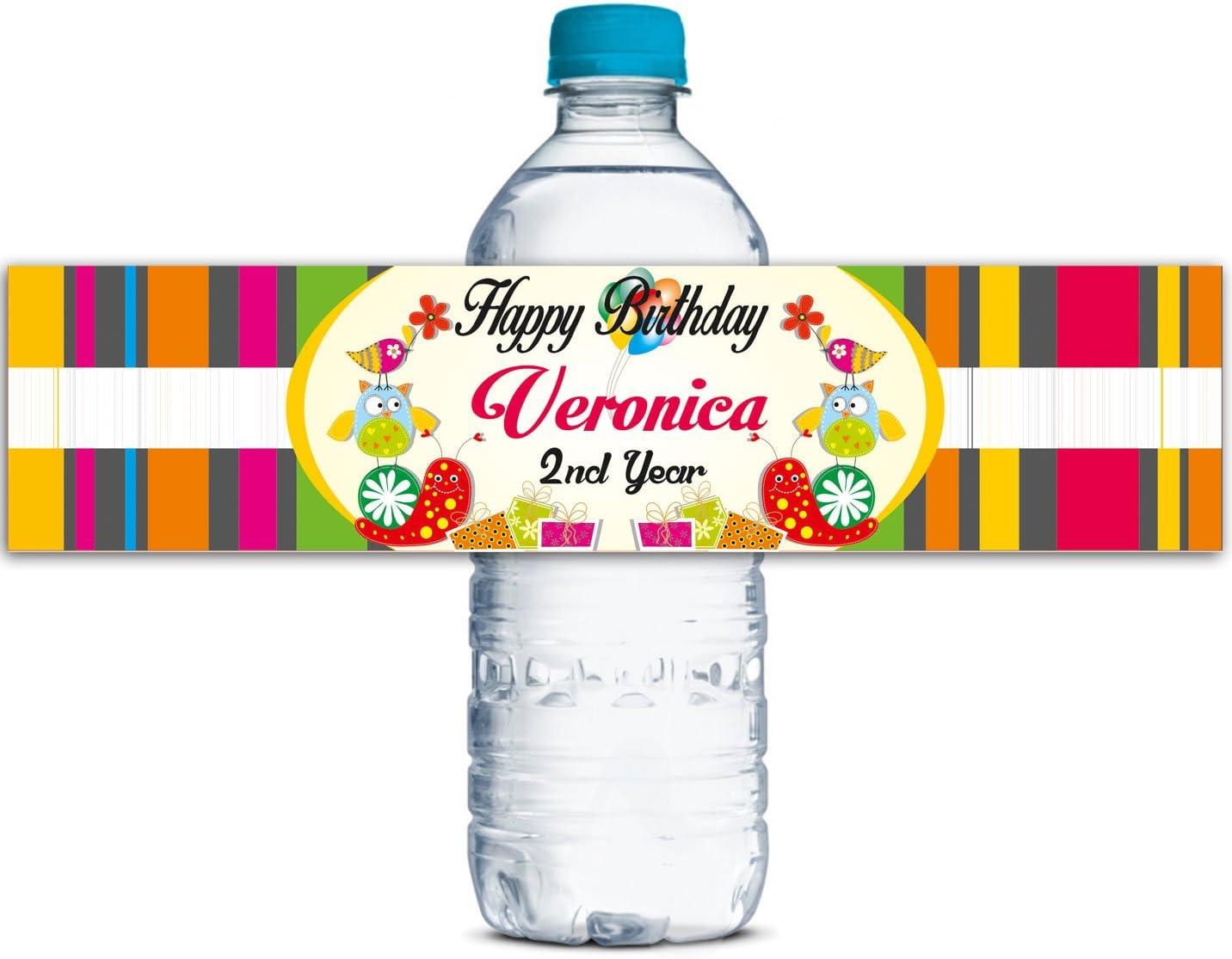 Waterproof Water Bottle Labels Personalized Labels Custom Water Bottle Labels Kids Birthday Party Labels Self Adhesive Labels WBL116P