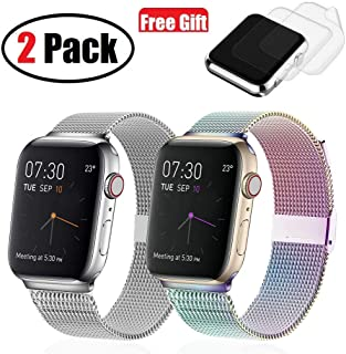(2 Pack) Compatible with Apple Watch Band 38mm 40mm, I.P Stainless Steel Mesh Metal Loop with Adjustable Magnetic Closure Replacement Bands for Series 5 4 3 2 1, Silver & Space Gray, Plus 2x Screen Pr
