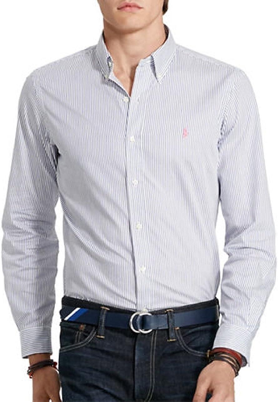 Polo Ralph Lauren Mens Monogram Long Sleeves Button-Down Shirt White L