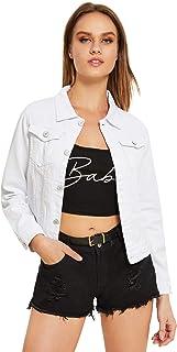 Floerns Women's Long Sleeve Stretch Denim Denim Jacket