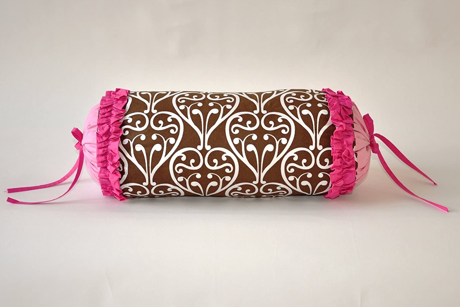 Bacati Damask Pink Chocolate Neck Roll