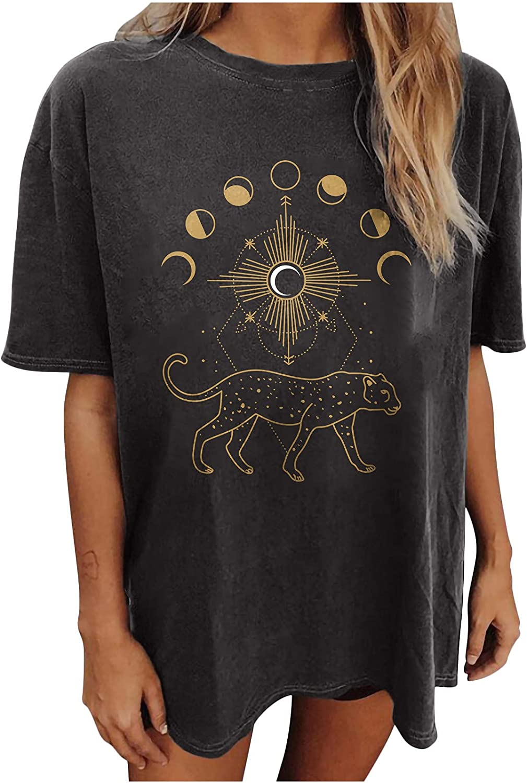TARIENDY Oversized Vintage T Shirt for Women Loose Crewneck Tshirt Short Sleeve Tees Leopard Print Tops