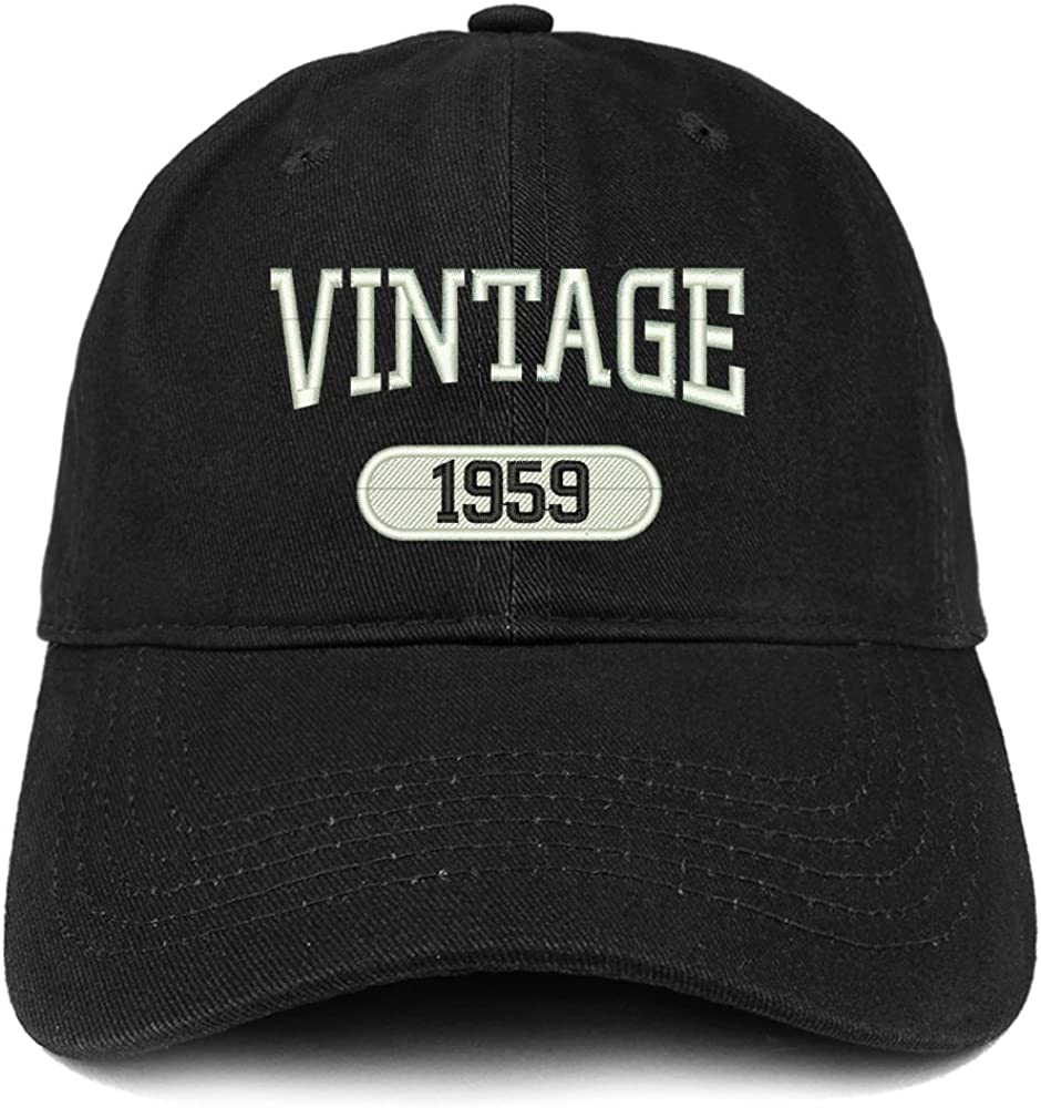 Trendy Apparel Shop Vintage 1959 Embroidered 62nd Birthday Relaxed Fitting Cotton Cap