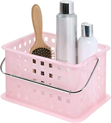 """iDesign Spa BPA-Free Plastic Small Stackable Basket with Handle - 9.25"""" x 7"""" x 5"""", Blush"""