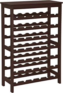SONGMICS 42-Bottle Wine Rack Free Standing Floor, 7-Tier Display Wine Storage Shelves with Table Top, Bamboo Wobble-Free Bottle Holder for Kitchen Bar Dining Room Living Room, Espresso UKWR27BR