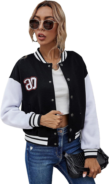 Floerns Women's Latest item Ranking TOP12 Striped Long Sleeve Button Baseball Up Outwear B