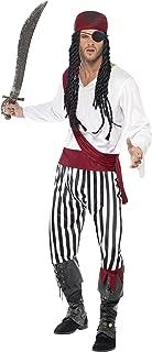 Smiffy's Smiffys-25783M Disfraz de Hombre Pirata y Blanco, con Camisa, pantalón, Adorno para la c, Color Negro, M-Tamaño 38