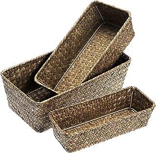 Sumnacon Lot de 3 paniers de rangement Seagrass Panier de bureau tissé Seagrass (café)
