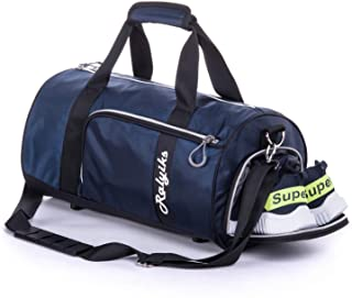 Waterproof Sports Gym Bag with Shoes Compartment Travel Duffel Bag (Navy Blue, Medium)