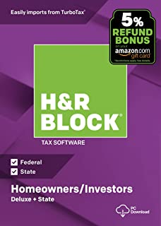 H&R Block Tax Software Deluxe + State 2018 with 5% Refund Bonus Offer [Amazon Exclusive] [PC Download]