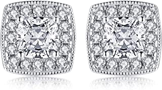 Platinum Plated Sterling Silver AAAAAA Womens Cubic Zirconia Cushion Shaped Halo Stud Earring Cz 1ct