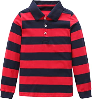 Boys Rainbow Striped Shirt Cotton Long Sleeve T-Shirts T-Shirts