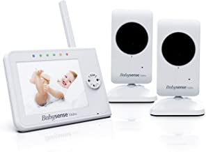 Upgraded - Babysense Video Baby Monitor 3.5 Inch Screen with 2 Cameras (White) - Featuring White Noise, Camera with Night Light, Night Vision, Talk Back, Room Temperature, Lullabies and Wide Range