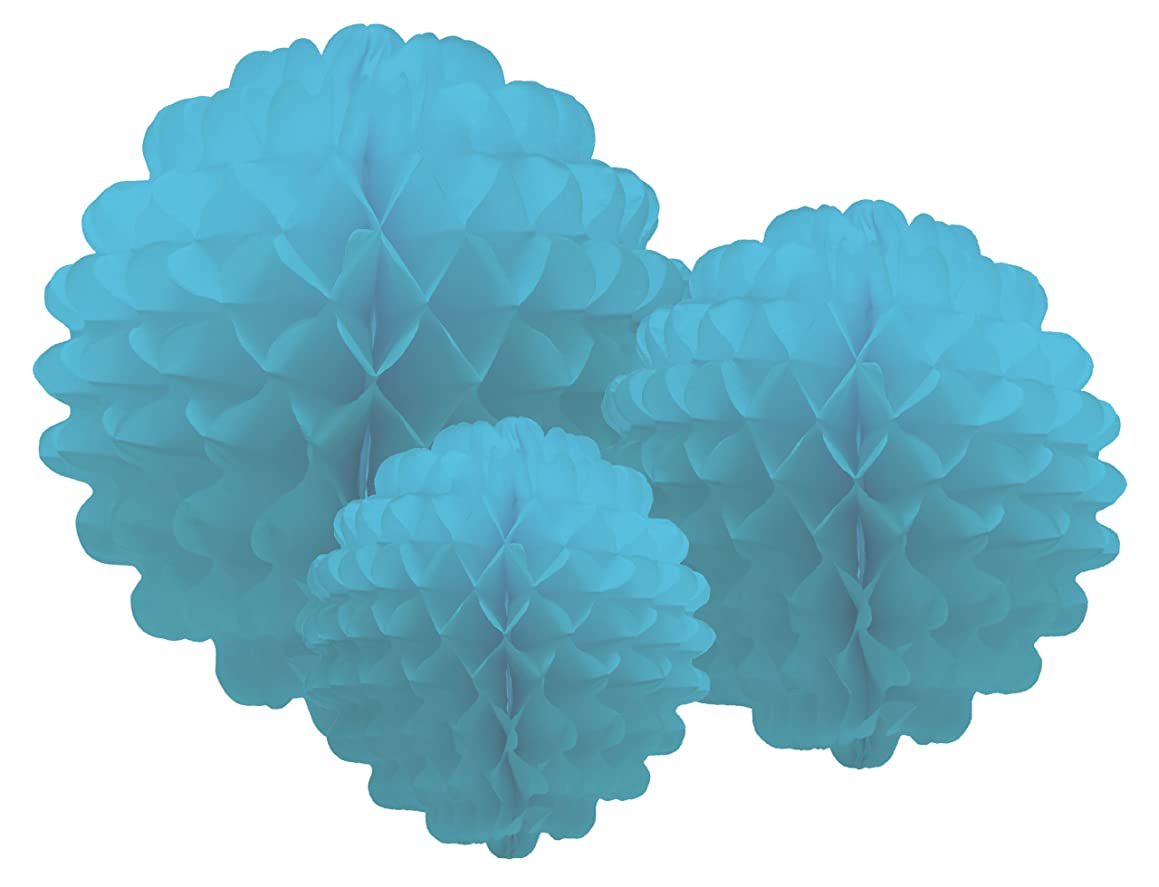 Party Partners Design Hanging Honeycomb Tissue Aqua Blue Pom-Pom Decoration Balls, Set of 3