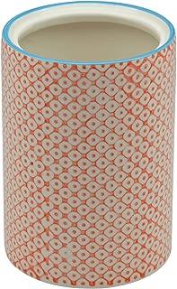 Nicola Spring Patterned Porcelain Kitchen Utensil Pot - Orange Print Design