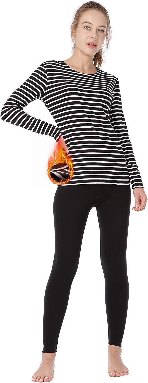 MANCYFIT Womens Thermal Underwear Set Ultra Soft Long Jonhs Seamless Base Layer Fleece Lined Striped Shirt